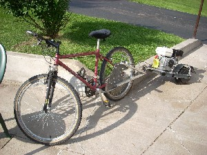 yep thatu0027s a motorized trailer that he welded to his bicycle scottu0027s huffy now goes when pressed 26 miles per hour and travels 60 miles per gallon of