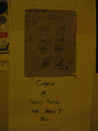 coyote napkin wall advert