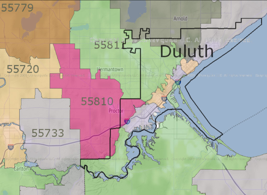 Zip Codes Map Duluth, MN
