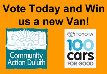 Vote for Community Action Duluth in 100 Cars for Good