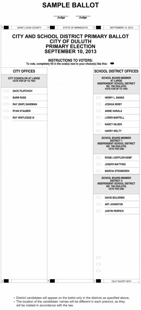 Fourth image of Sample Ballot For 2012 Duluth Primary with Duluth 2013 Primary Election Sample Ballot - Perfect ...