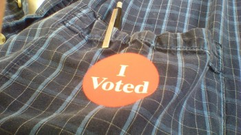 """I Voted"" photo, shamelessly cribbed from Tim Kaiser's FB Page"