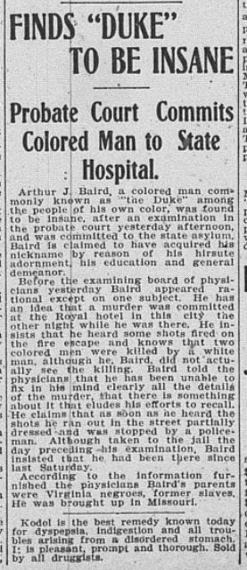 """Finds Duke to be Insane,"" Duluth Weekly Heard, 15 January 1908"