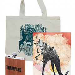Trampled by Turtles tote bag, 18 x 24 poster and Trampled flask.