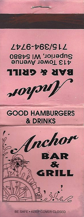 Anchor Bar Matchbook Superior Wisconsin