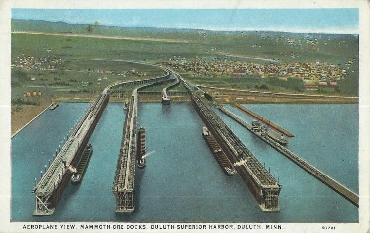 Duluth, MN, Mammoth Ore Docks, Aeroplane View, c1920s