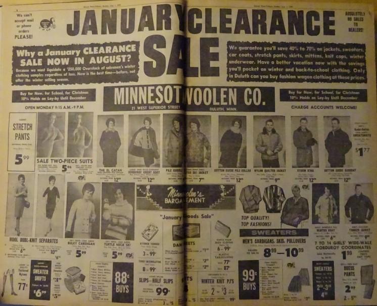 Minnesota Woolen ad from 1965