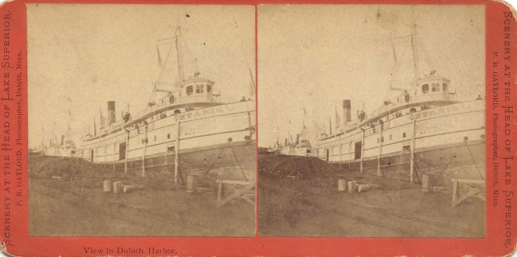 Stereoview View in Duluth Harbor by P. B. Gaylord