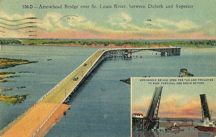 Arrowhead Bridge over St. Louis River between Duluth and Superior 1955