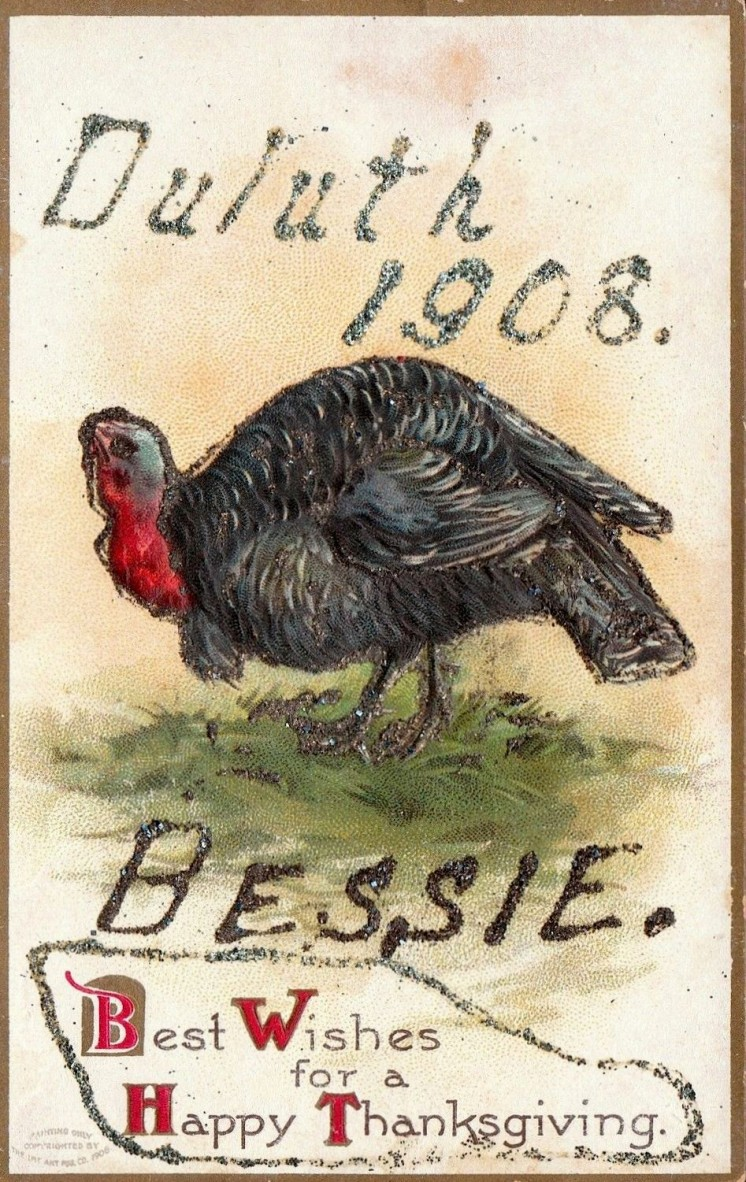 Bessie Thanksgiving  Postcard 1908