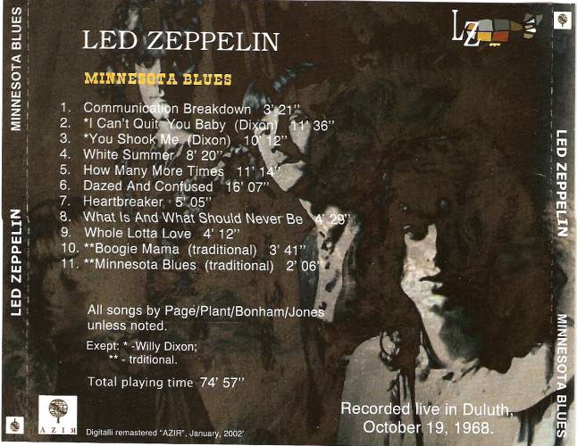 Led Zeppelin Duluth back cover