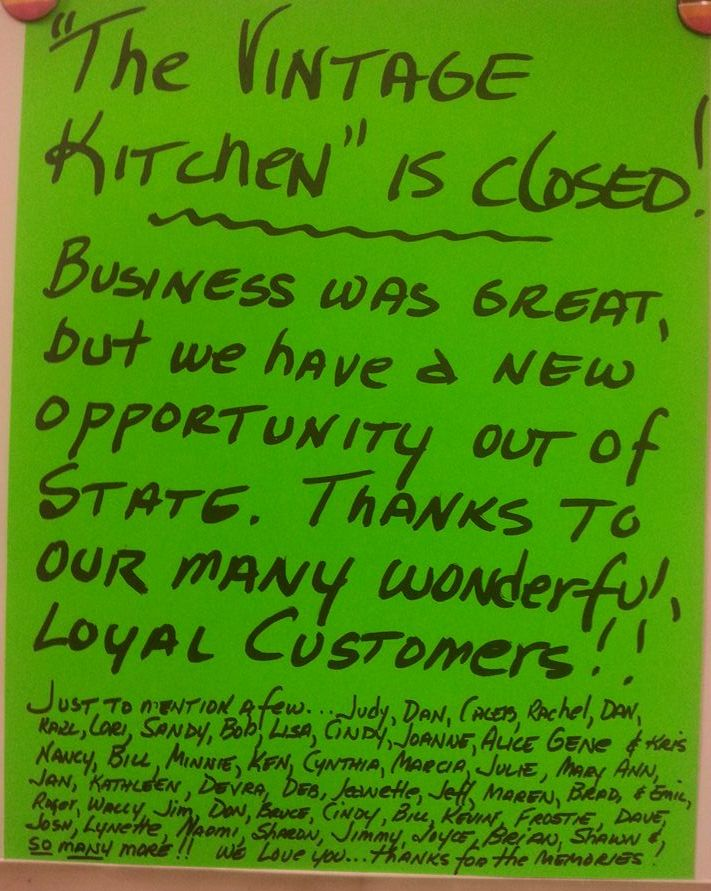 Vintage Kitchen is Closed