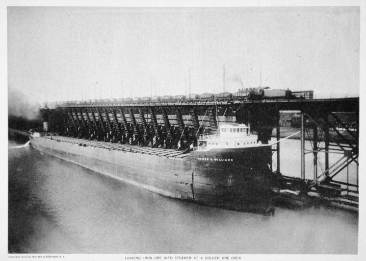 Loading iron ore into steamer at a Duluth ore dock 1919 sepia photogravure