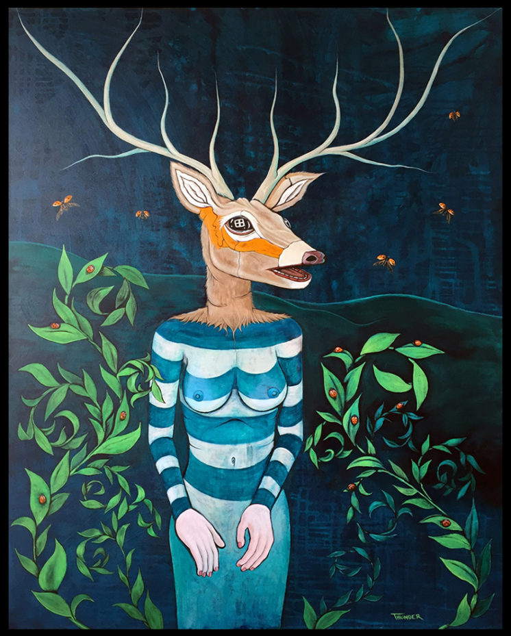 "Deer Woman Gets A Manicure Acrylic on canvas 54"" x 48"" 2016"