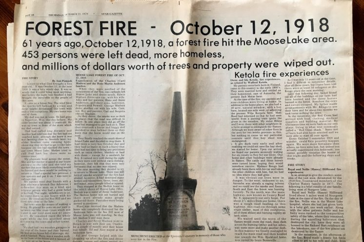 Moose Lake Star Gazette Fire of 1918