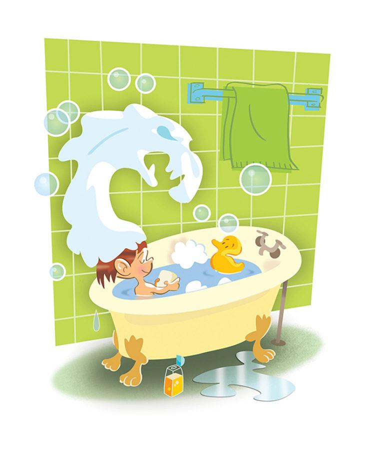Kid In Tub - kids book illustration