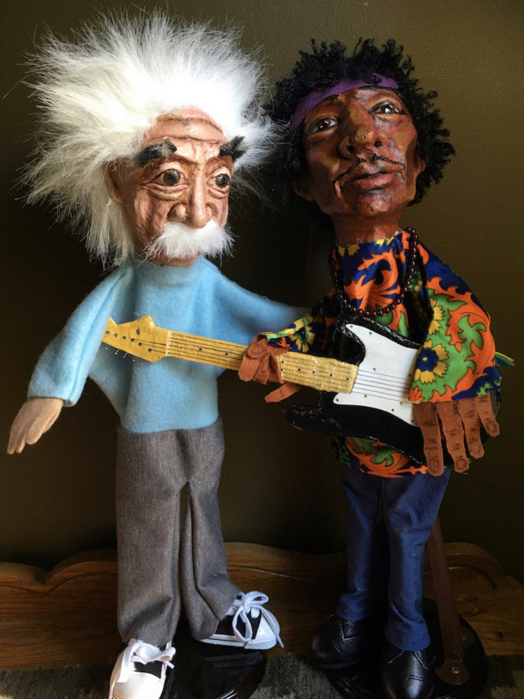 "18"" Hand puppets of Albert Einstein and Jimi Hendrix, Papier-mâché and cloth"