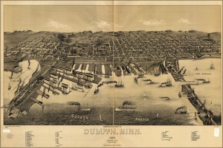 Perspective Map of Duluth 1887