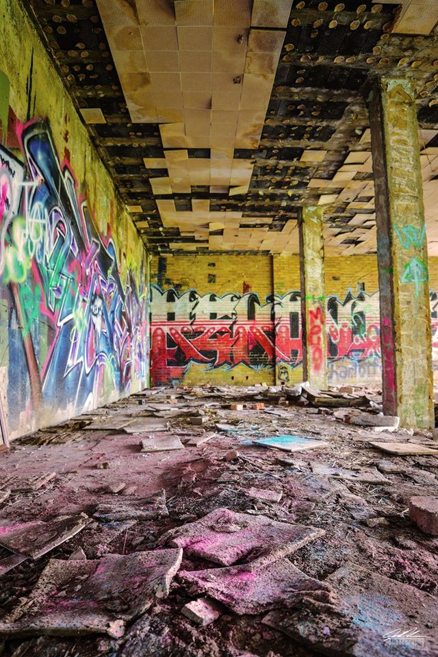 Clover Valley High School - Closed and abandoned 40 years ago, the Clover Valley High School is a feast for the eyes with graffiti covering every inch of the remaining walls.