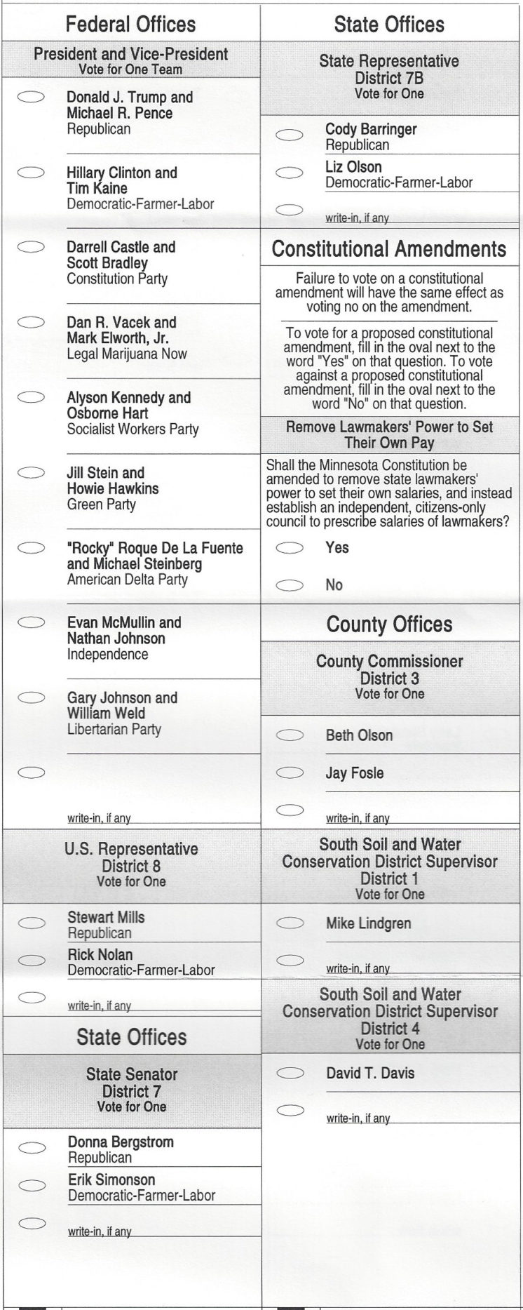 Duluth 2016 General Election Sample Ballot Perfect