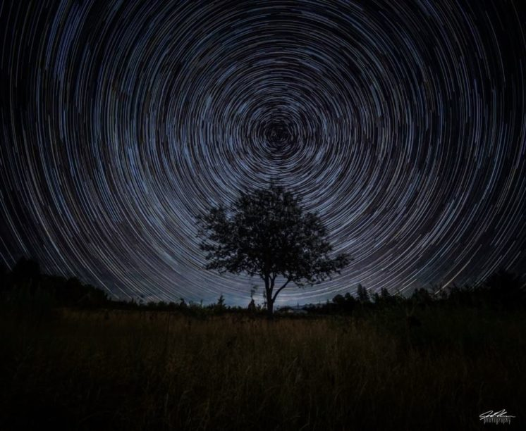 """McQuade - A lonely tree sitting in a field, found on Duluth's McQuade Road. 80 individual images stacked on top of eachother, producing the """"trails"""" effect you seen in the sky."""