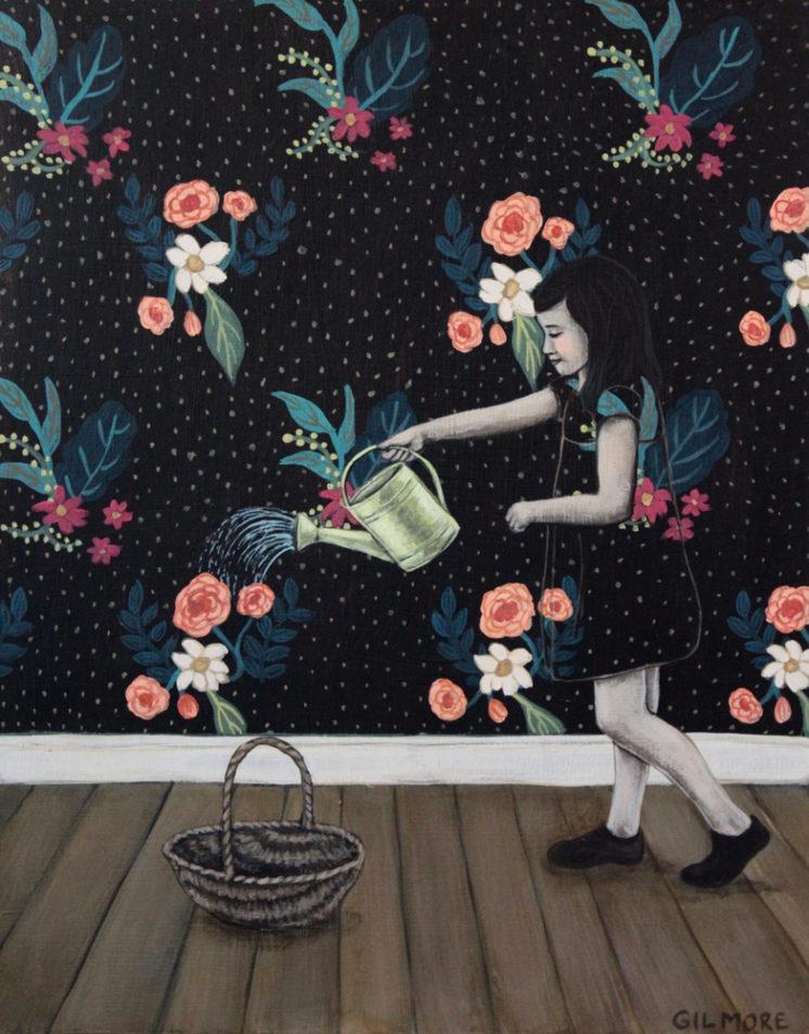 "Watering The Wallpaper, 14""x11"" acrylic on deep cradled wood panel"