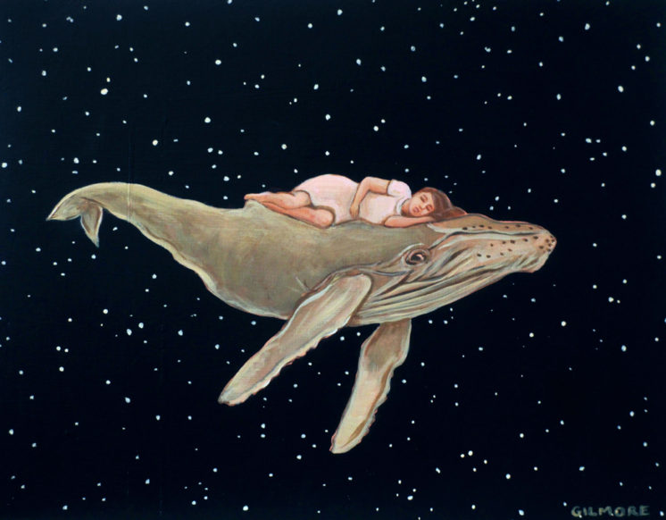 "Whale Bed, 11""x14"" acrylic on deep cradled wood panel"