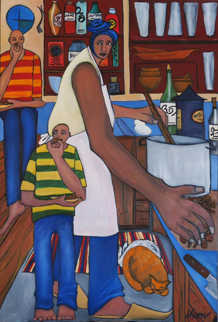 """""""Cooking Stew with Carrots"""" oil on canvas 24"""" x 36"""""""