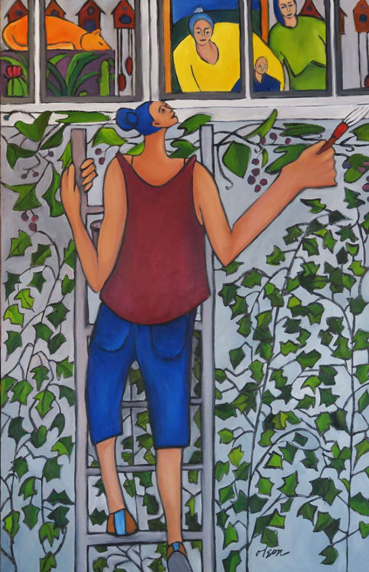 """""""Painting the Back Porch"""" oil on canvas 24"""" x 36"""""""