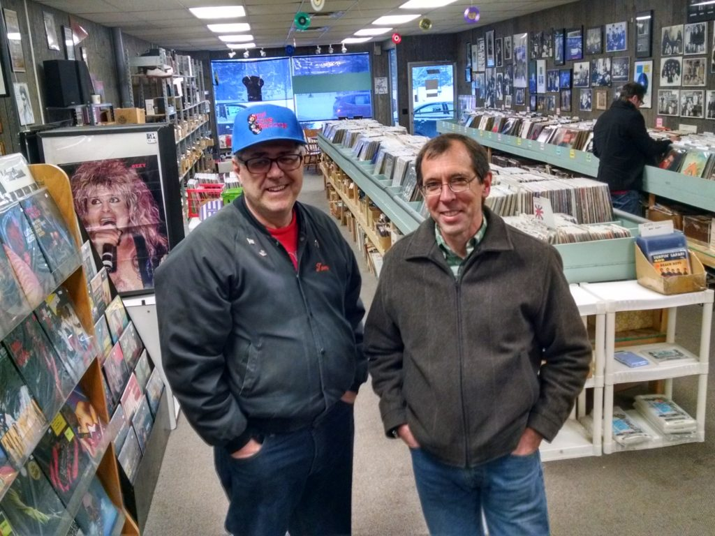 Vinyl Cave owners Tom Johnson, left, and Tom Unterberger will close the Superior record store Dec. 31. They hope to sell the store inventory to a single buyer.