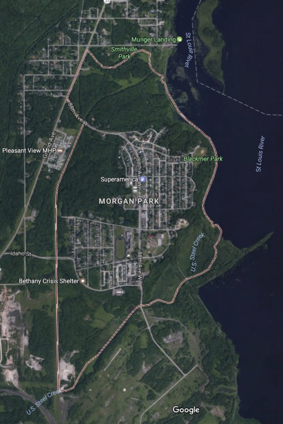 Earth Map of Morgan Park in Duluth
