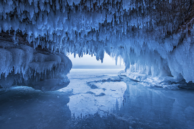 """""""Apostle Island Mainland Ice Cave"""" Icicles covered in hoar frost hang from an inland ice cave."""