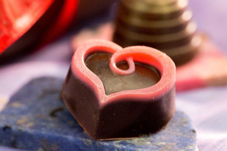Raspberry Silk Heart and Irish Caramel in back