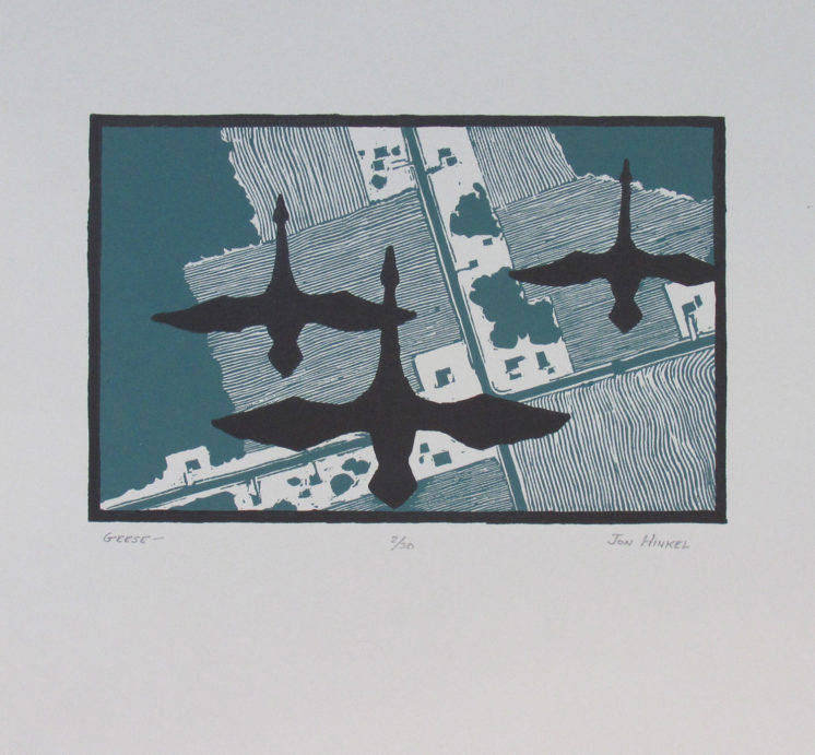 """Geese relief print on paper image size: 5"""" x 7.5"""""""