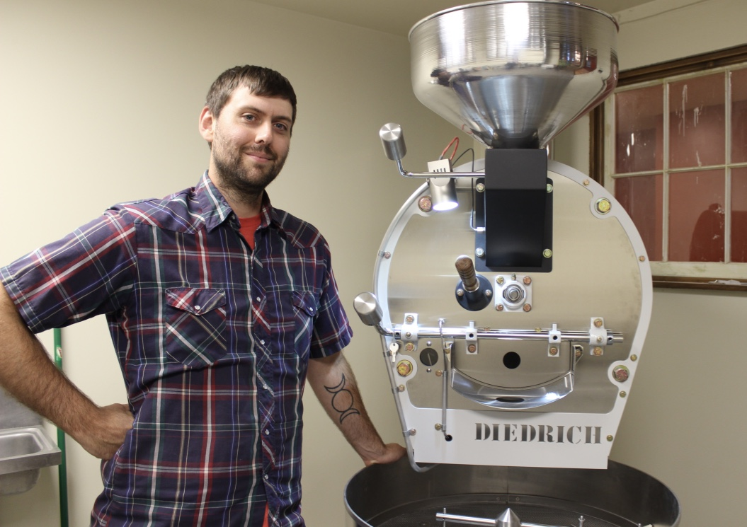 Russell Crawford of Almanac Coffee with his new roaster - Photo by Lissa Maki