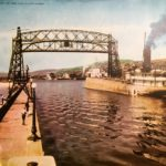 Aerial Bridge raised to pass ore boat into Duluth Harbor