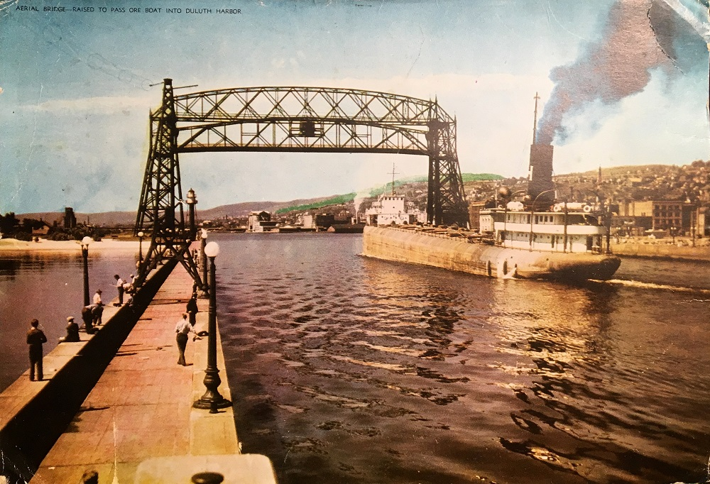 Aerial Bridge Raised To Pass Ore Boat Into Duluth Harbor Perfect