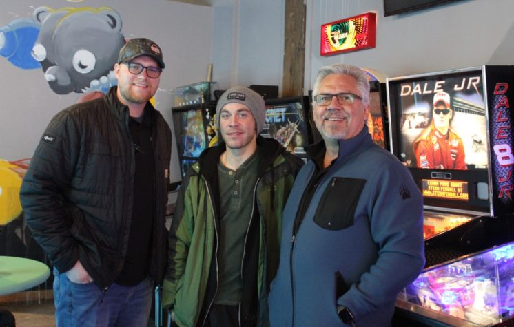 Jeff Petcoff, Mike Atkinson (pinball mechanic/manager) and Tom Hanson - Photo by Lissa Maki