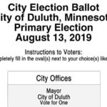 Duluth 2019 Primary Election Sample Ballot