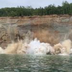 Video: Pictured Rocks cliff face plummets into Lake Superior