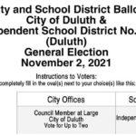 Duluth 2021 General Election Sample Ballot